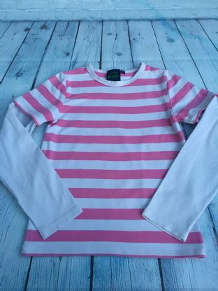 Mini Boden pink and white striped layered top age 9-10